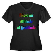 Gratitude Women's Plus Size V-Neck Dark T-Shirt