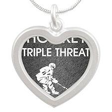 hockeysdt1 Silver Heart Necklace