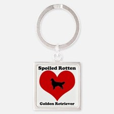 Spoiled Rotten Golden Retriever Square Keychain
