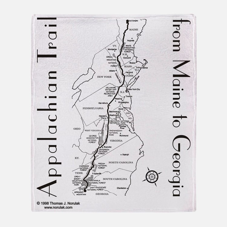 Appalachian Trail Map Throw Blanket