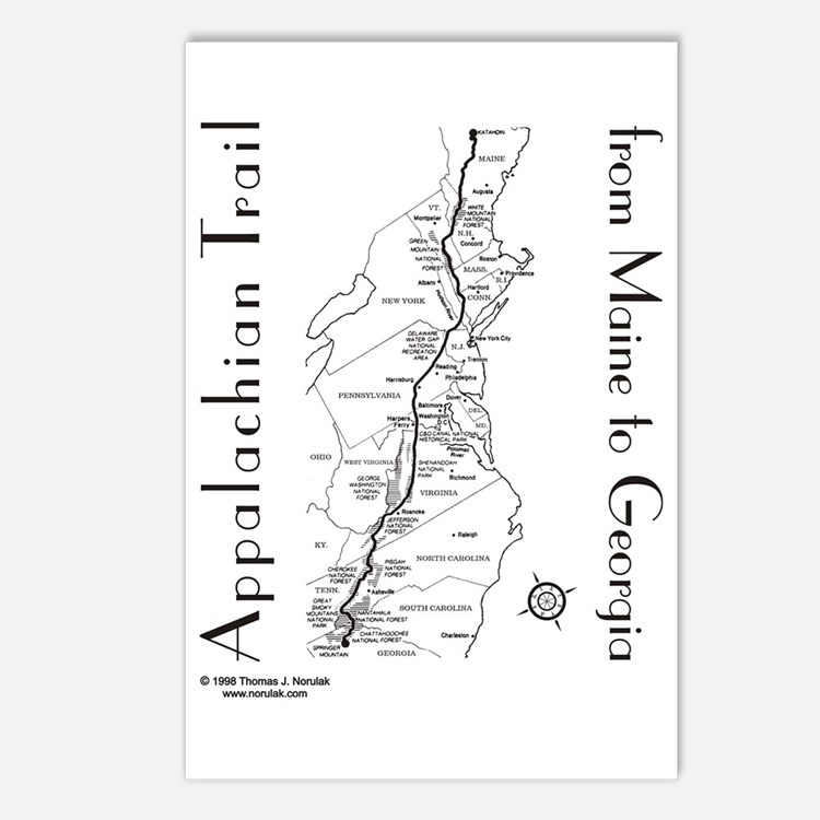 Appalachian Trail Map Postcards (Package of 8)