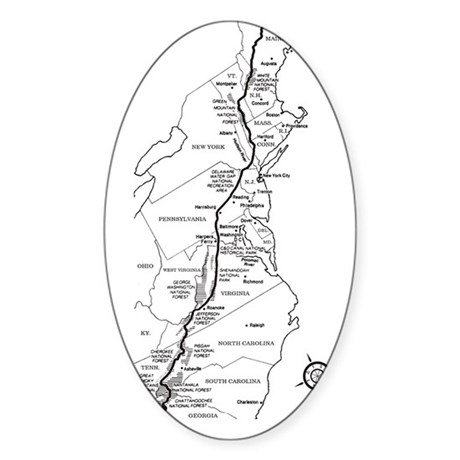 appalachian trail map sticker  oval  by admin cp16092972