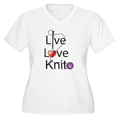 Live Love KNIT Women's Plus Size V-Neck T-Shirt