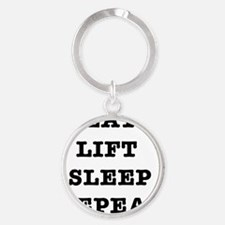 EAT LIFT SLEEP REPEAT Round Keychain