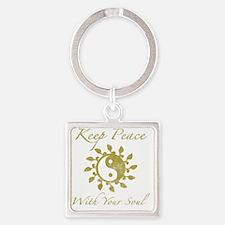 Yin Yang Keep Peace Square Keychain