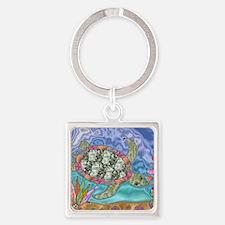 Sea Turtle Sea Horse Art Square Keychain