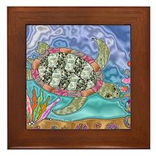 Sea Turtle Sea Horse Art Framed Tile