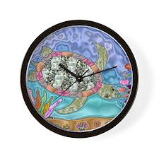 Sea Turtle Sea Horse Art Wall Clock