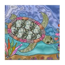 Sea Turtle Sea Horse Art Tile Coaster