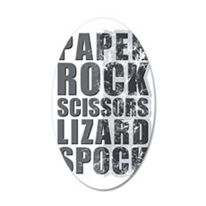 paper rock scissors lizard s 35x21 Oval Wall Decal