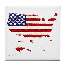 USA Outline Flag 50 v2 Tile Coaster