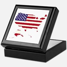 USA Outline Flag 50 v2 Keepsake Box