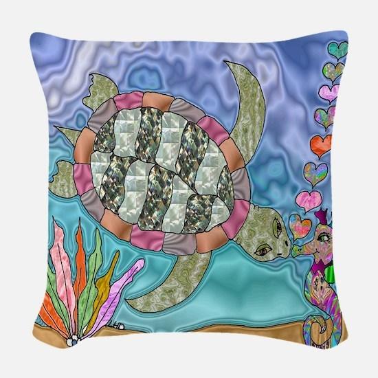 Sea Turtle Sea Horse Art Woven Throw Pillow