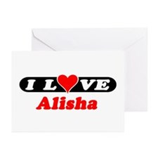 I Love Alisha Greeting Cards (Pk of 10)