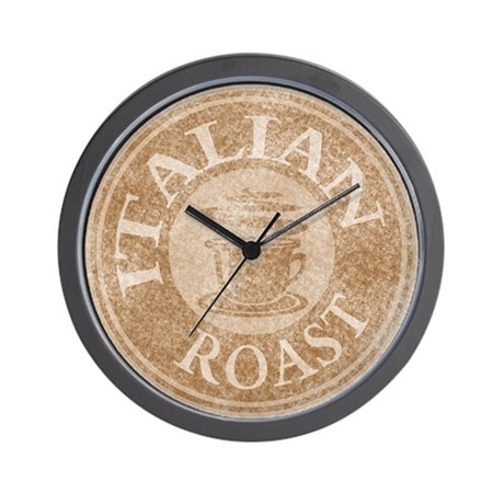 Italian Roast Coffee Logo Wall Clock