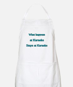 What happens at Karaoke Stays BBQ Apron