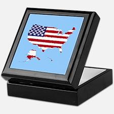 USA Flag 50 Keepsake Box