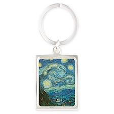 Starry Night van Gogh Portrait Keychain