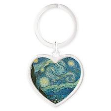 Starry Night van Gogh Heart Keychain