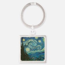 Starry Night van Gogh Square Keychain