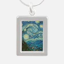 Starry Night van Gogh Silver Portrait Necklace