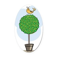 Tree Bird Oval Car Magnet