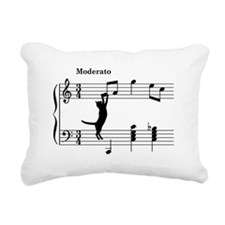 Cat Jumping to Note Rectangular Canvas Pillow