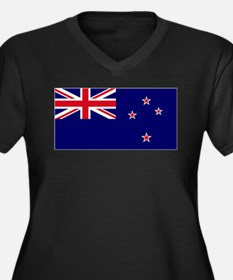 New Zealand flag Women's Plus Size V-Neck Dark T-S
