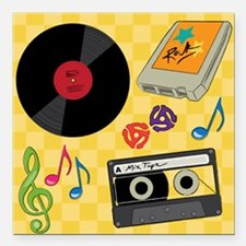 "Retro Music Collection Square Car Magnet 3"" x 3"""
