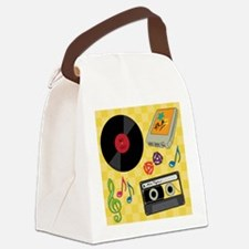 Retro Music Collection Canvas Lunch Bag