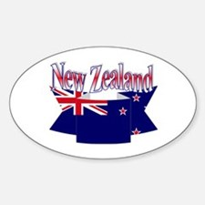 New Zealand flag ribbon Oval Decal