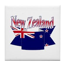 New Zealand flag ribbon Tile Coaster