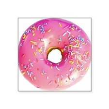 "pink frosted donut Square Sticker 3"" x 3"""