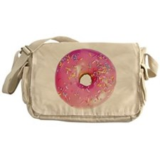 pink frosted donut Messenger Bag