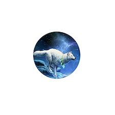 White Wolf Mini Button