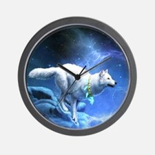 White Wolf Wall Clock