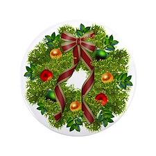 """xmas wreath 3.5"""" Button"""
