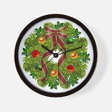 xmas wreath Wall Clock