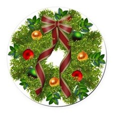 xmas wreath Round Car Magnet