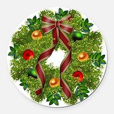 xmas wreath Round Car Magnet
