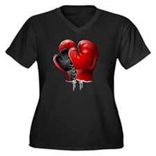 boxing glove Women's Plus Size Dark V-Neck T-Shirt