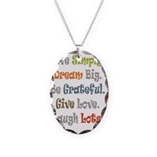 Live Simply. Necklace Oval Charm