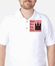 Stand Ye In Holy Places on Pink T-Shirt