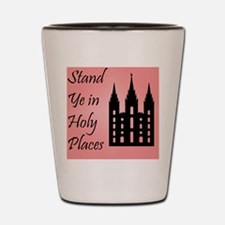 Stand Ye In Holy Places on Pink Shot Glass
