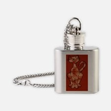 paisley cat case Flask Necklace