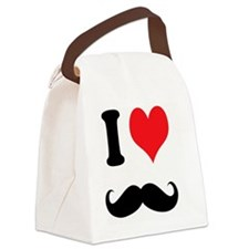 I Heart Mustaches Canvas Lunch Bag