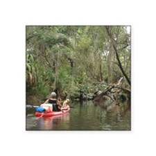 """Kayaking with Harley Square Sticker 3"""" x 3"""""""