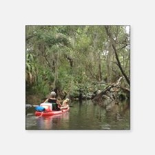 "Kayaking with Harley Square Sticker 3"" x 3"""