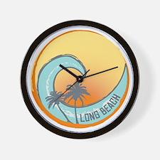 Long Beach Sunset Crest Wall Clock