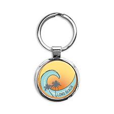 Long Beach Sunset Crest Round Keychain